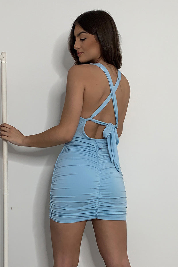 Laura Blue Tie Up Bodycon Dress