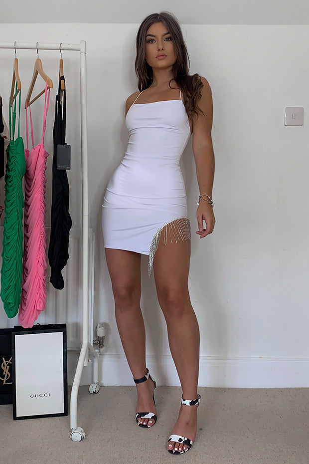 Lourdes White Sparkle Bodycon Dress