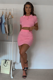 Margot Pink Ribbed Co Ord Set