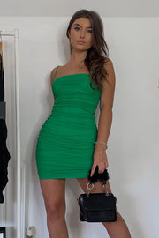 Molly Green Mesh Ruched Mini Dress