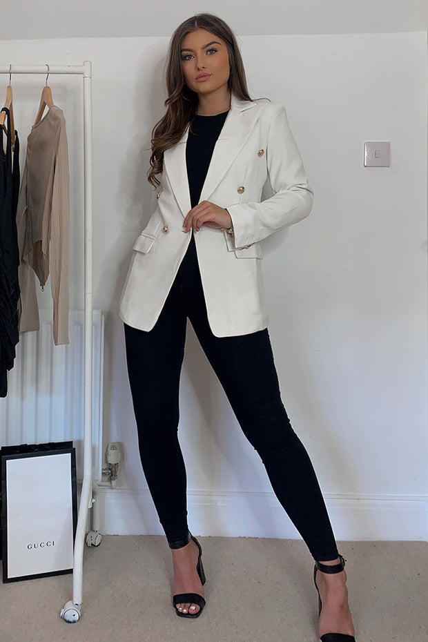 Nadia Cream Golden Button Blazer