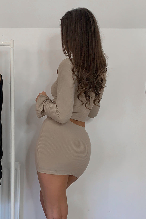 Noelle Nude Ribbed Mini Skirt