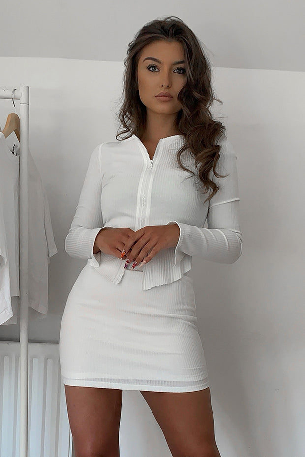 Noelle White Zip Front Cardian Top