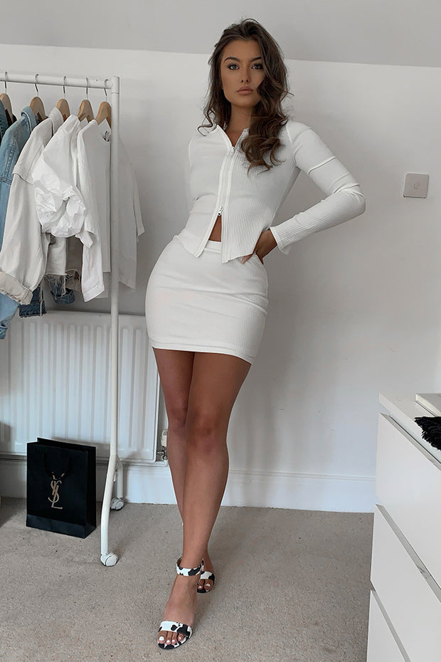Noelle White Ribbed Mini Skirt