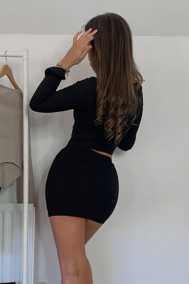 Noelle Black Ribbed Mini Skirt