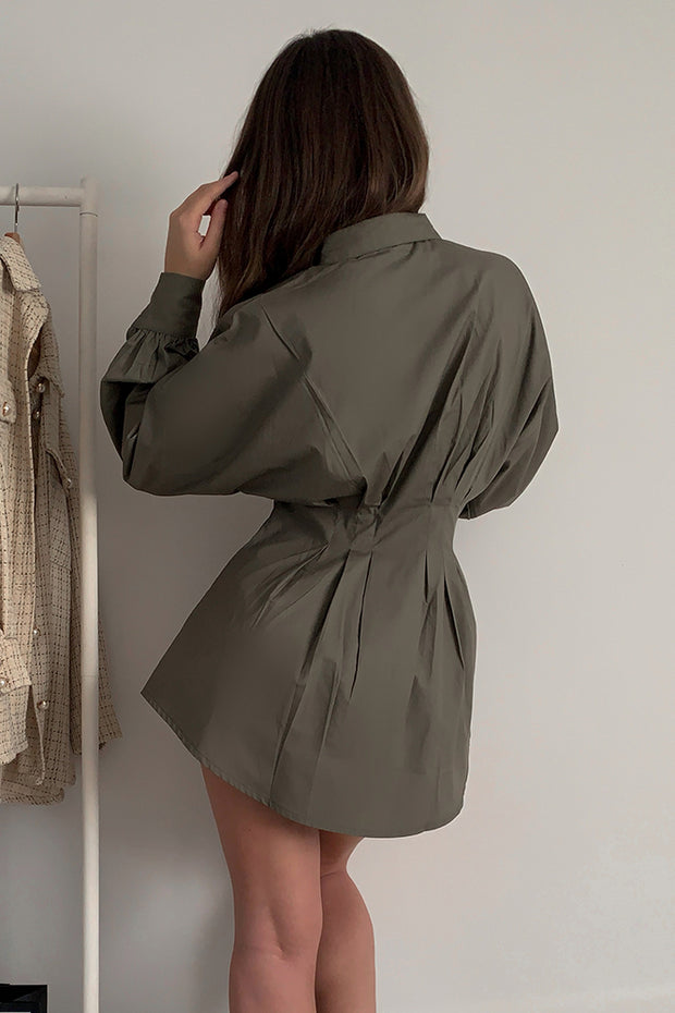 Piper Khaki Shirt Dress