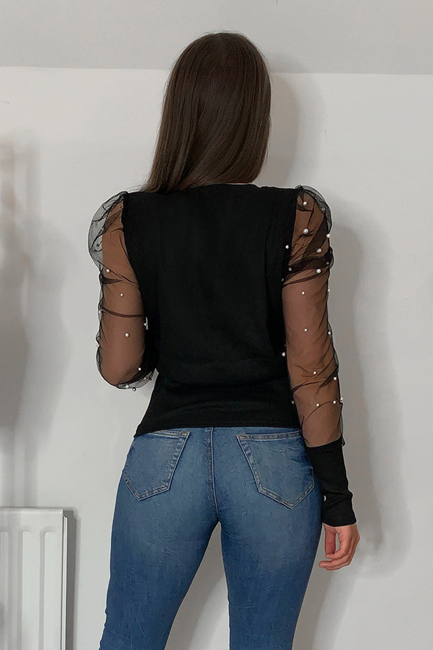 Luna Black Sheer Sleeve Pearl Jumper
