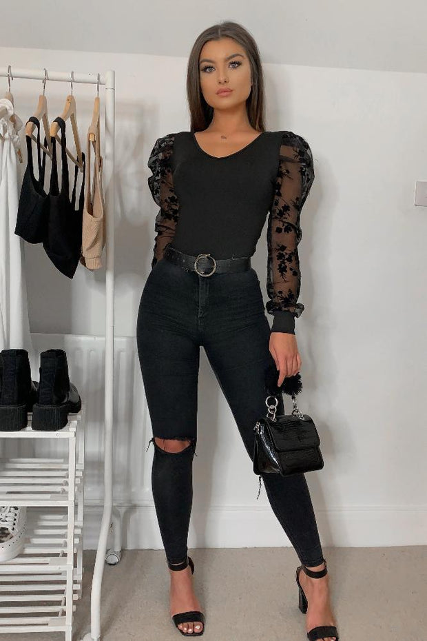 Marlee Black Floral Sheer Puff Sleeve Bodysuit