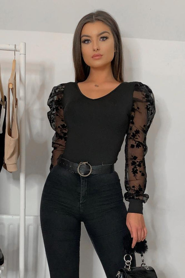 Marlee Floral Sheer Puff Sleeve Bodysuit