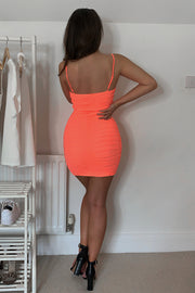 Molly Coral Mesh Ruched Mini Dress