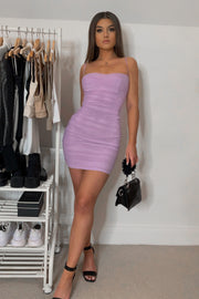 Molly Lilac Mesh Ruched Mini Dress