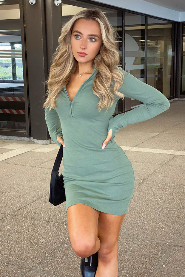 Remy Khaki Knit Bodycon Dress