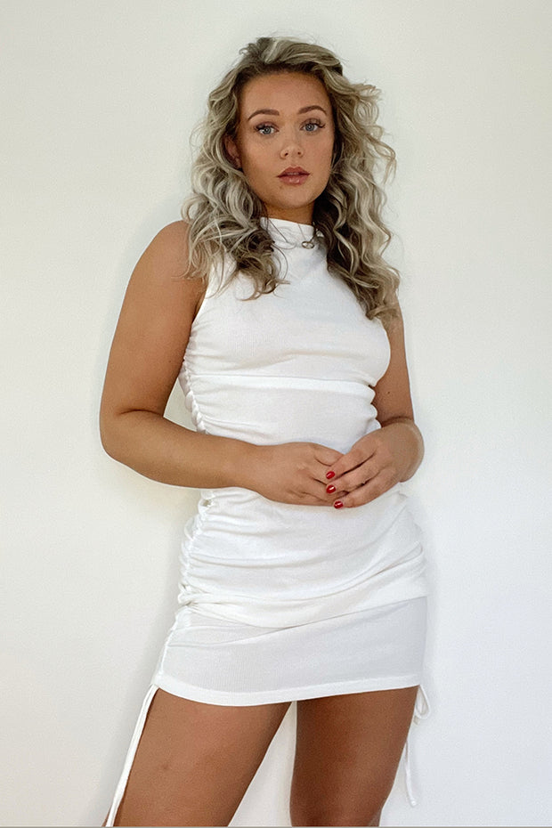 Clemmie White Ribbed Ruched Dress