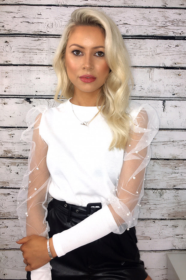 Luna White Sheer Sleeve Pearl Jumper