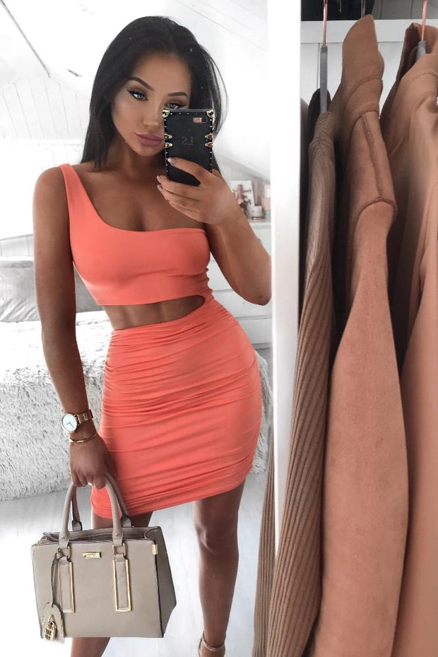 Harper Orange Cutout Bodycon Dress