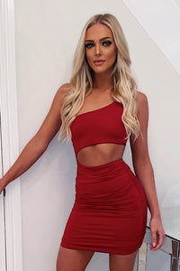 Cutout Bodycon Dress Red