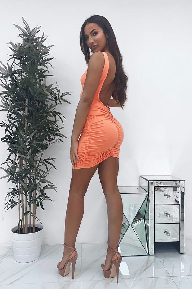 Kenna Orange Backless Bodycon Dress