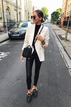 Golden Button Blazer Beige
