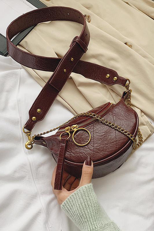 Samera Burgundy Chain Bum Bag