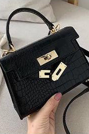 Lauryn Black Faux Croc Bag