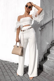 Esme White Embellished Frill Top