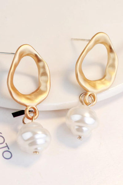 Samantha Faux Pearl Textured Drop Earrings