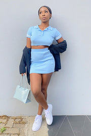 Margot Blue Ribbed Co Ord Set
