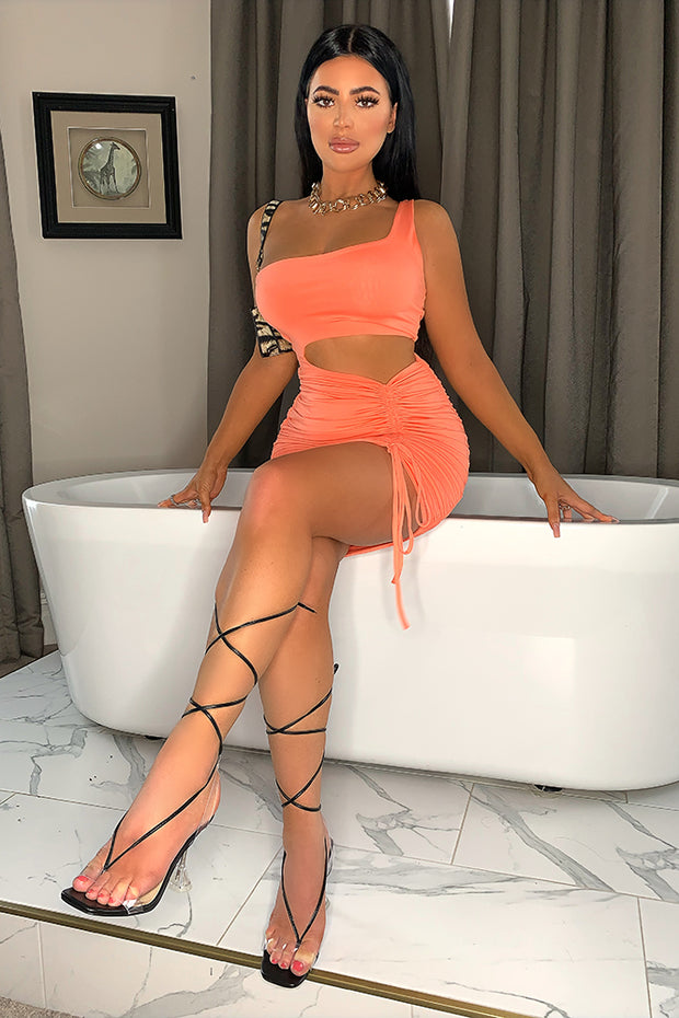 Megan Orange Ruched Bodycon Dress