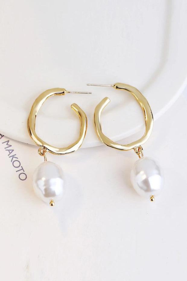 Tommi Faux Pearl Textured Drop Earrings