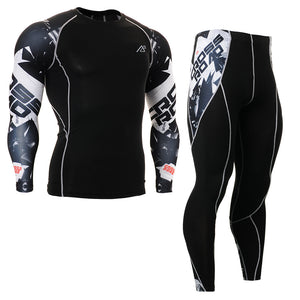 Men's Strength Training Sport Clothing Set Compression Tee Shirt & Leggings Quick Dry Fitness