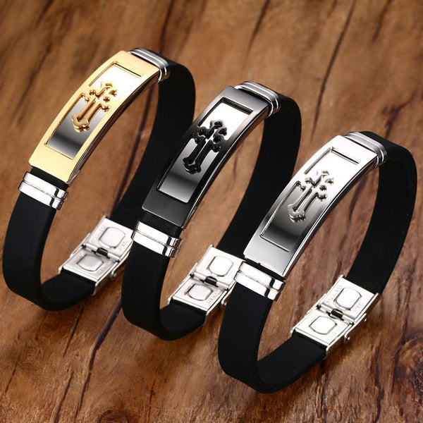 3 Pcs Mens Silicone Bracelets Stainless Steel