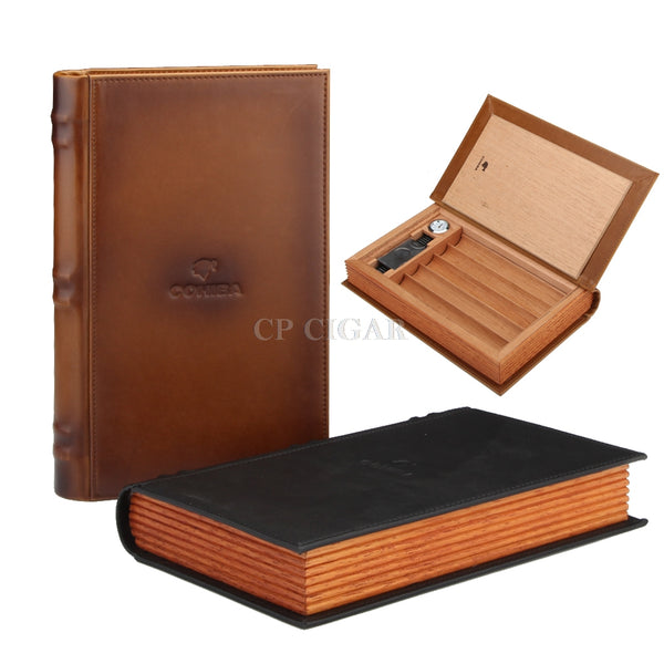 BOOK-LOOKING REAL LEATHER HUMIDOR
