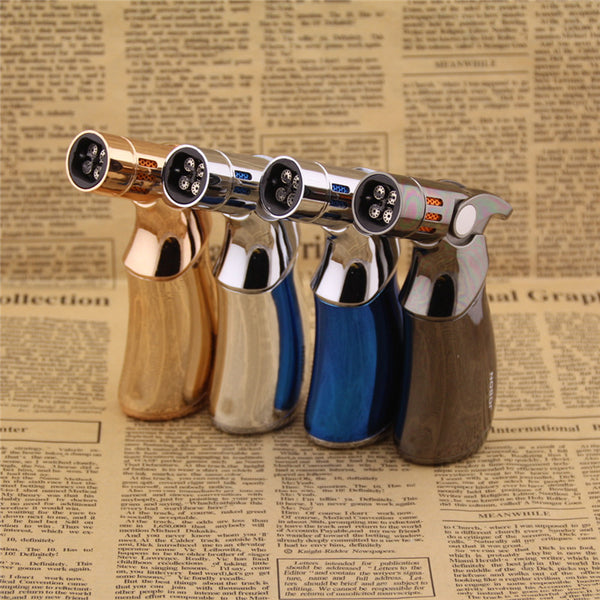 1PCS  4 Jet Turbo Torch Full Metal Butane Gas Lighters