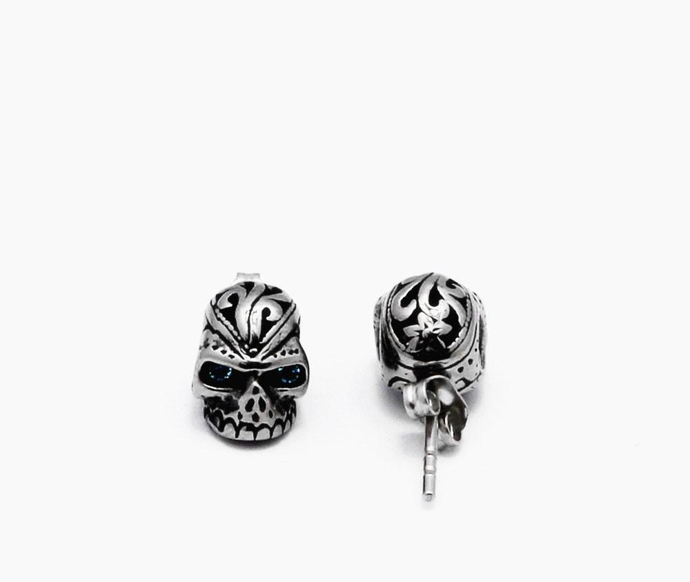 and sterling goth heart stud skull earrings earring pfs jewelry silver crossbones bling