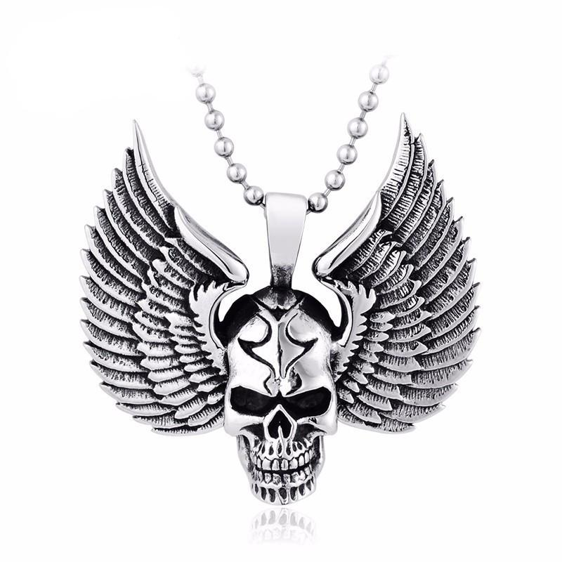 Stainless Steel Skull Punk Pendant Necklace