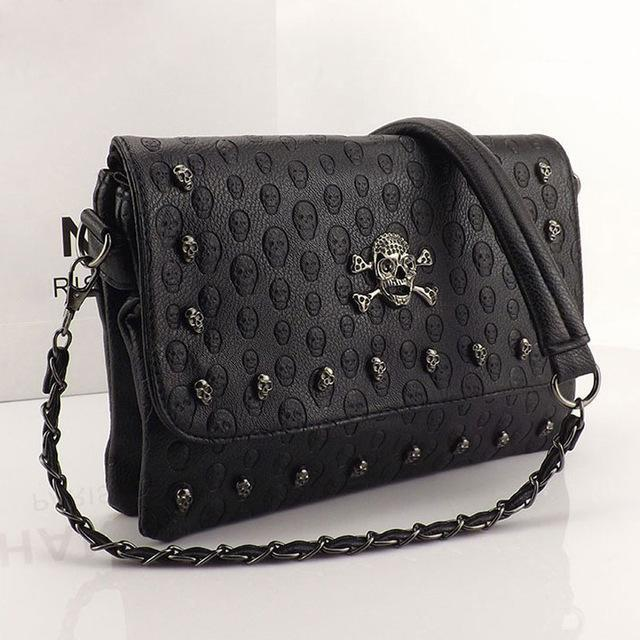 Vintage Skull Rivet Crossbody Bag