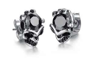 Big Skull Crystal Earrings