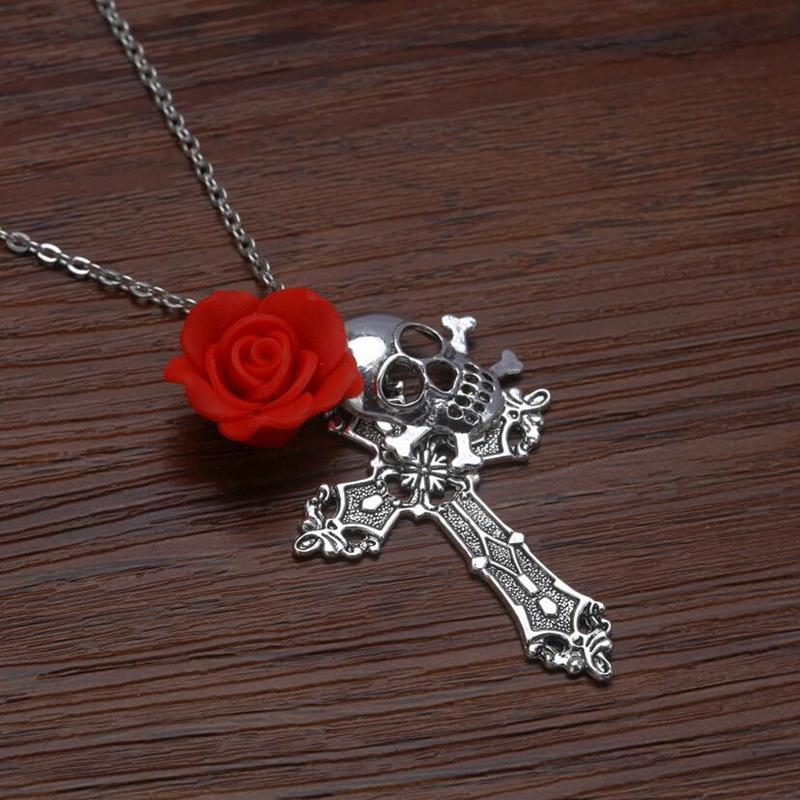Skull Red Rose Gothic Necklace