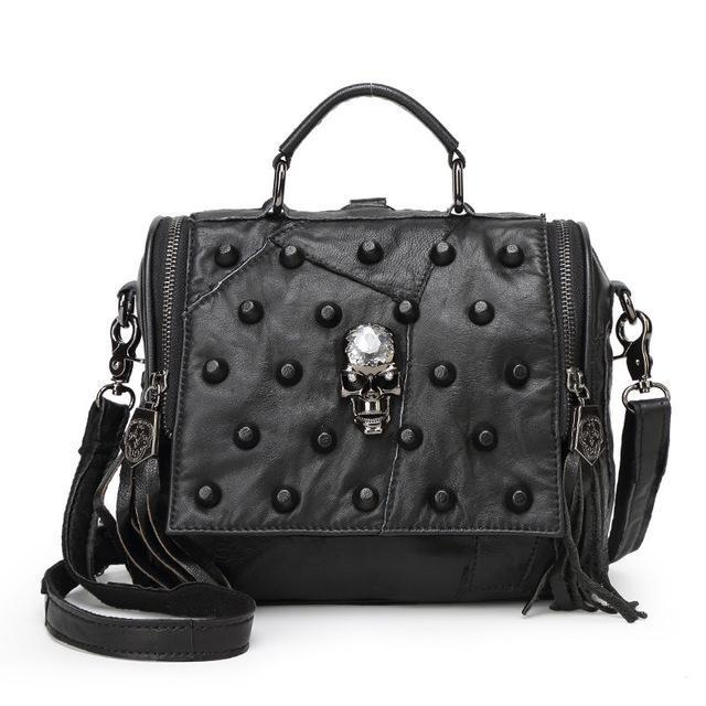 Rivet Skull Leather Messenger Bag