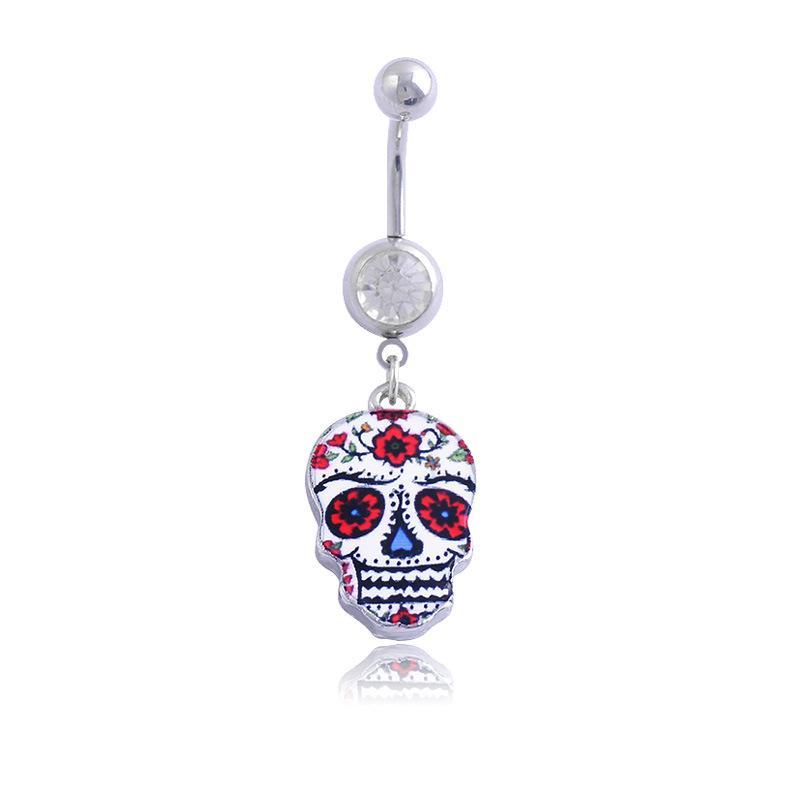 3D Painting Skull Belly Button Rings