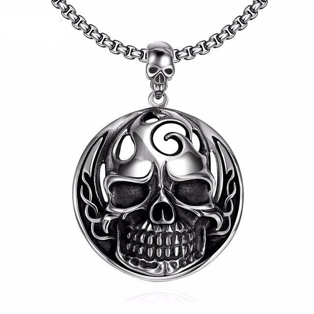 Unisex Stainless Steel Biker Skull Necklacec