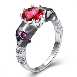Skull Ring Red Crown Jewelry