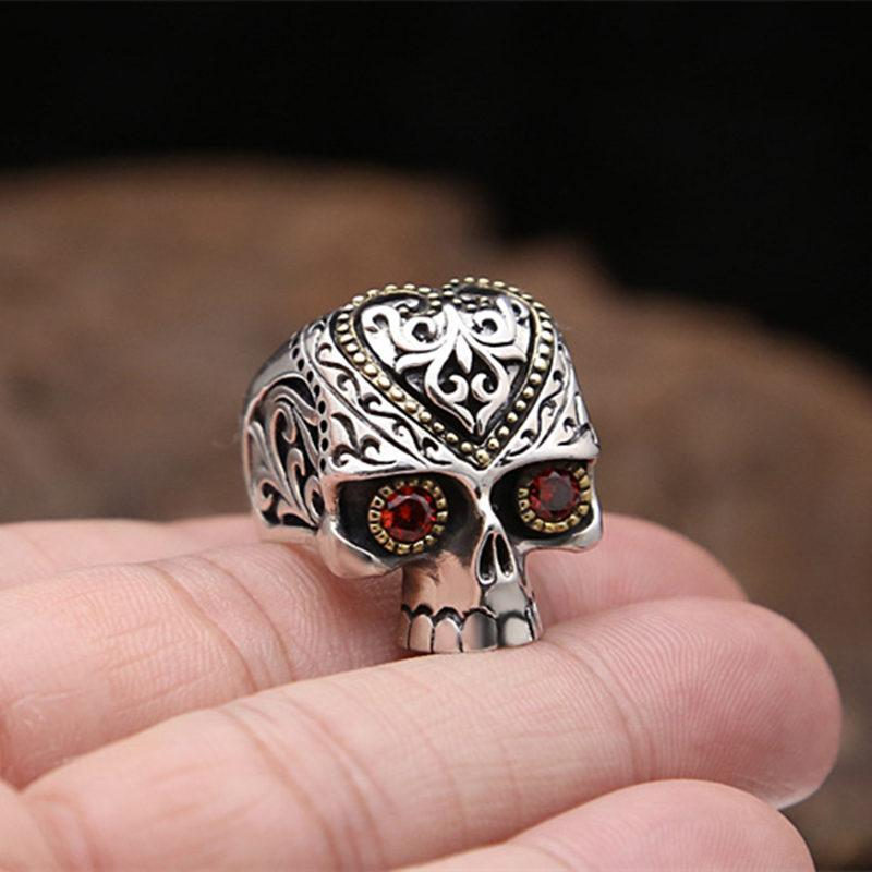 Sugar Skull Rings with Red Stone