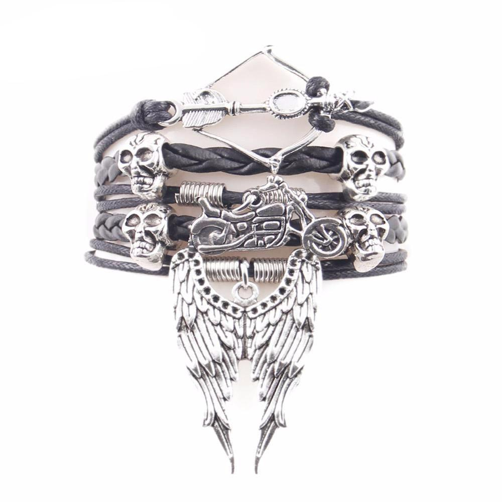 Arrow Skull Biker Wing Bracelets