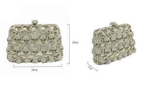 Silver Crystal Skull Mini Purse