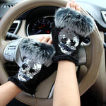 Fashion Winter Skull Silver Sequins Gloves