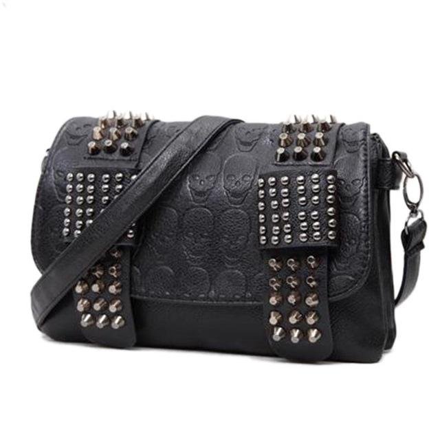 Black Vintage Skull Rivets Shoulder Bags
