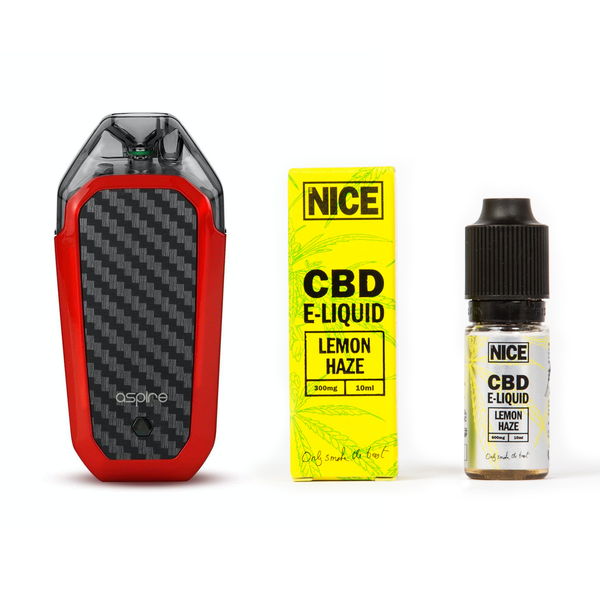 NICE BUNDLE: ASPIRE VAPE POD DEVICE (RED) + CBD E LIQUID