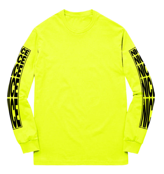 STRETCH LOGO LONGSLEEVE T-SHIRT - SAFETY YELLOW - MR NICE