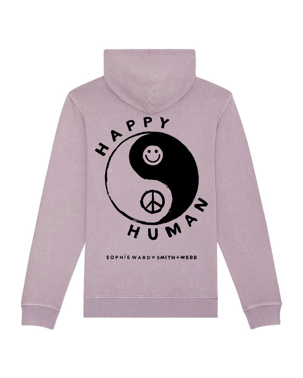 Vintage Aged Lilac 'Happy Human' (summer weight) Hoodie in Aid of Mind Charity